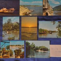 Lot 8 CP Delta Dunarii (Vederi vechi The Danube Delta, Tulcea, Romania), Fotografie, Romania de la 1950