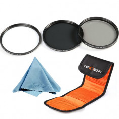 Set de 3 filtre UV CPL ND8 pe 58mm K&F Concept + Bonus microfibra . - Filtru foto Kent Faith, 50-60 mm