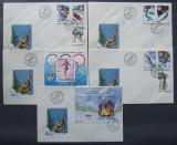 ROMANIA 1992 - JOCURILE OLIMPICE ALBERTVILLE, 5 FDC OBLIT PRIMA ZI - IM 0607