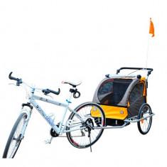 Remorca de bicicleta pentru transportat copiii Qaba - portocalie