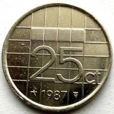 OLANDA / BEATRIX, 25 CENTS 1987, MONETARIA UTRECHT, Europa, Crom