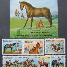 BURKINA FASO 1985 - CAI, 7 VALORI SI 1 S/S NEOBLITERATE - E1267