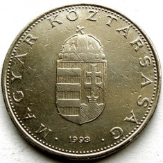 UNGARIA, 10 FORINT 1993, STEMA REGATULUI, DIAMETRU 25mm., Europa, Crom