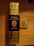 """Cutie Ambalaj Metal - WHISKY: """" 100 PIPERS"""" - dim. H = 31cm; lat.: 10cm"""
