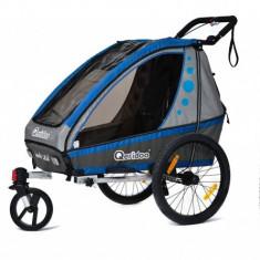 Remorca de bicicleta Qeridoo Jumbo 1 - albastra