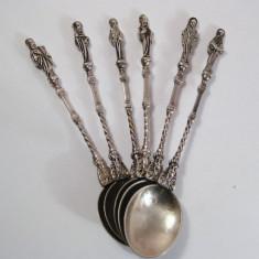 Set 6 lingurite argint masiv figurine cu 6 Apostoli Sfinti