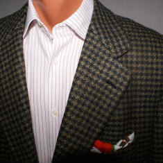 Sacou barbati Hugo Boss ERMENEGILDO ZEGNA Soft in carouri verde marimea 52 lana si mohair, 2 nasturi, Marime sacou: 50, Normal