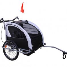 Remorca de bicicleta pentru transportat copiii Qaba - neagra - Remorca bicicleta