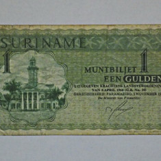 SURINAME 1 Gulden 1974 F+++ - bancnota america, An: 1943