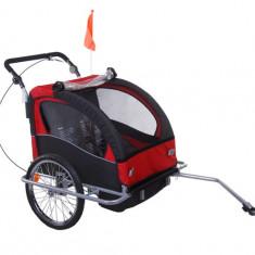 Remorca de bicicleta pentru transportat copiii Qaba - rosie