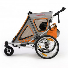 Remorca de bicicleta Qeridoo Speedkid2, noua, portocalie - Remorca bicicleta