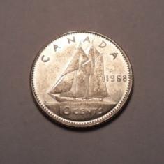Canada 10 Cents 1968 UNC, America de Nord
