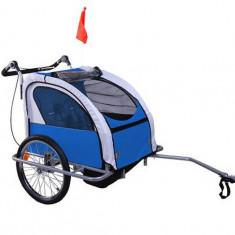 Remorca de bicicleta pentru transportat copiii Qaba - albastra - Remorca bicicleta