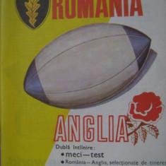 Program meci rugbi / Romania- Anglia (13 mai 1989)