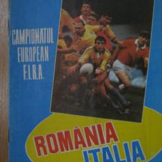 Program meci rugbi / Romania - Italia (15 aprilie 1989)