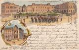BUCURESTI PALATUL REGAL SI FUNDATIUNEA UNIVERSITARA CAROL I LITHOGRAFIE CIRC1903, Circulata, Printata