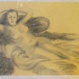 Desen carbune si creion, nud, semnat ISER - Pictor roman, Realism