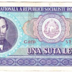 1) Bancnota 100 Lei 1966 portret Balcescu VF+ - Bancnota romaneasca
