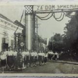 WWII - CROATIA - MANIFESTATIE PRO FASCISTA A FEMEILOR CROATE - VUKOVAR 1941 - Fotografie veche