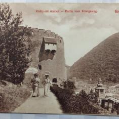 BRASOV -PROMENADA REGALA -ANIMATIE - 2 DISTINSE DOAMNE CU UMBRELUTE -ANUL 1911 - Carte Postala Transilvania 1904-1918, Circulata, Fotografie