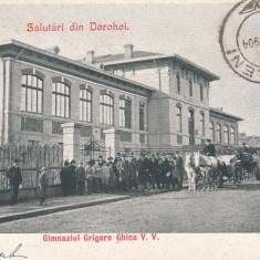SALUTARI DIN DOROHOI. GIMNAZIUL GRIGORE GHICA V.V, TCV, CLASICA, CIRC.SEP. 1904 - Carte Postala Moldova pana la 1904, Circulata, Printata