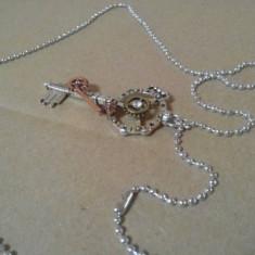 Colier, lant pandantiv, model abstract, cheie, argint tibetan - bijuterii - Pandantiv fashion