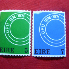 Serie Aniversare UPU 1974 Irlanda, 2 val. - Timbre straine, Nestampilat