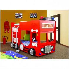 Pat Etajat In Forma De Masina Pompieri Plastiko - Pat tematic pentru copii Plastiko, 190X100cm, Rosu