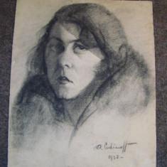 ART-DECO portret feminin SEMNAT- pictorul Anatolie Cudinoff(1910-1978) - Pictor roman, Portrete, Carbune, Realism