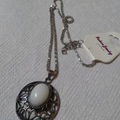 Colier, lant pandantiv cu piatra, accesorii bijuterii, argint tibetan - Pandantiv argint