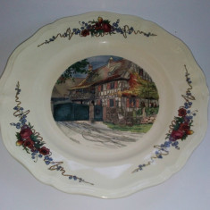 Farfurie decorativa Franta - Obernai, peisaj rustic-Semnata H. Loux - Arta Ceramica