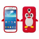 Husa silicon PINGUIN ROSU Samsung Galaxy S4 i9500 i9505 + folie ecran - Husa Telefon Samsung, Negru