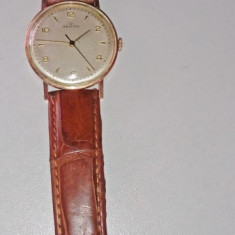 Ceas de colectie din aur 18 k marca ZENITH - Ceas barbatesc Zenith, Mecanic-Manual, Piele, Analog, 1940 - 1969