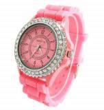 Ceas dama Fashion GENEVA curea silicon pink + cutie simpla cadou, Quartz, Otel