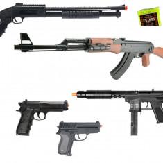 Mega set 5 pusti/pistoale airsoft calibru 6mm,propulsie pe arc,bile incluse!NOU.