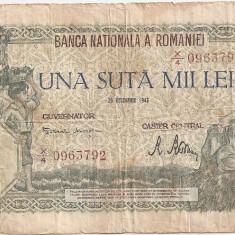 ROMANIA 100000 LEI 1946 U - Bancnota romaneasca, An: 1945