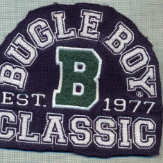 "314 -EMBLEMA MARE - BUGLE BOY CLASSIC -EST. ,,B"" 1977 -starea care se vede"