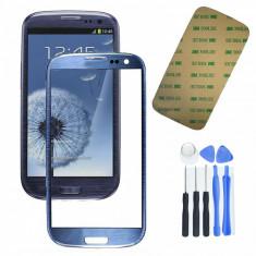 Sticla Display Fata Samsung Galaxy S3 i9300  neo ALBASTRU  + kit scule + adeziv