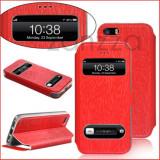 Husa iPhone 5 5s piele eco rosie - Husa Telefon Apple, iPhone 5/5S/SE, Rosu, Piele Ecologica, Cu clapeta