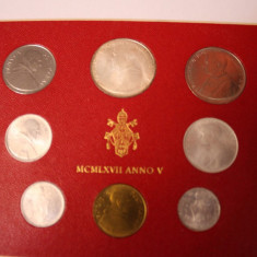 NUMISMATICA-MONEDE STRAINE -CITTA DEL VATICANO-SET 8 MONEDE-V-1967, Europa, Nichel