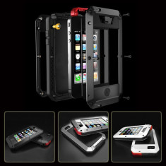 Carcasa Protectie extrema socuri, iPhone 5s, GorillaGlass, US ARM - Husa Telefon, iPhone 5/5S/SE, Negru, Metal / Aluminiu, Fara snur