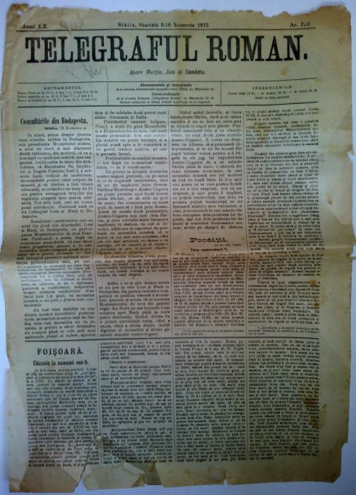 Ziar antebelic TELEGRAFUL ROMAN  Nr. 116 Sibiu 1912 - anunturi, reclame
