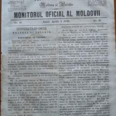Principatele Unite , Monitorul oficial al Moldovii , Iasi , nr. 46 , 1859