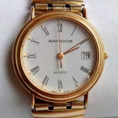 Ceas Sandoz Swiss Made, placat cu aur inclusiv bratara - Ceas unisex