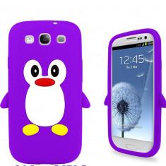 Husa silicon model pinguin MOV Samsung Galaxy S3 i9300 + folie ecran