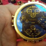 Ceas DIESEL 3 BAR -  Cadran Foarte Mare cu 4 Ceasuri Incluse - Negru + Auriu