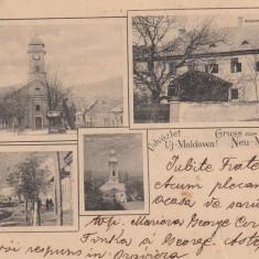 MOLDOVA NOUA, GRUSS AUS NEU-MOLDOWA CLASICA, CIRCULATA 1904 - Carte Postala Banat pana la 1904, Printata