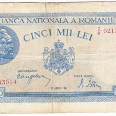 Bancnota 5000 lei 22 august 1944, FOARTE RARA - Bancnota romaneasca