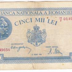 3)Bancnota 5000 lei 22 august 1944, FOARTE RARA - Bancnota romaneasca