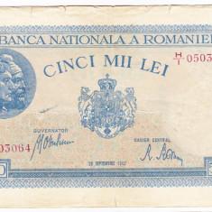 2)Bancnota 5000 lei 28 septembrie 1943 portret Traian+Decebal - Bancnota romaneasca